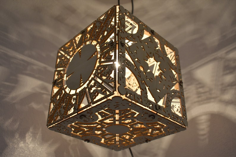Hellraiser Puzzle Box  Wood Hanging Lamp image 0