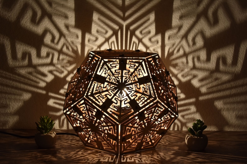 Dodecahedron Desk Shadow Lamp Geometric Lighting Wood Lamp image 0