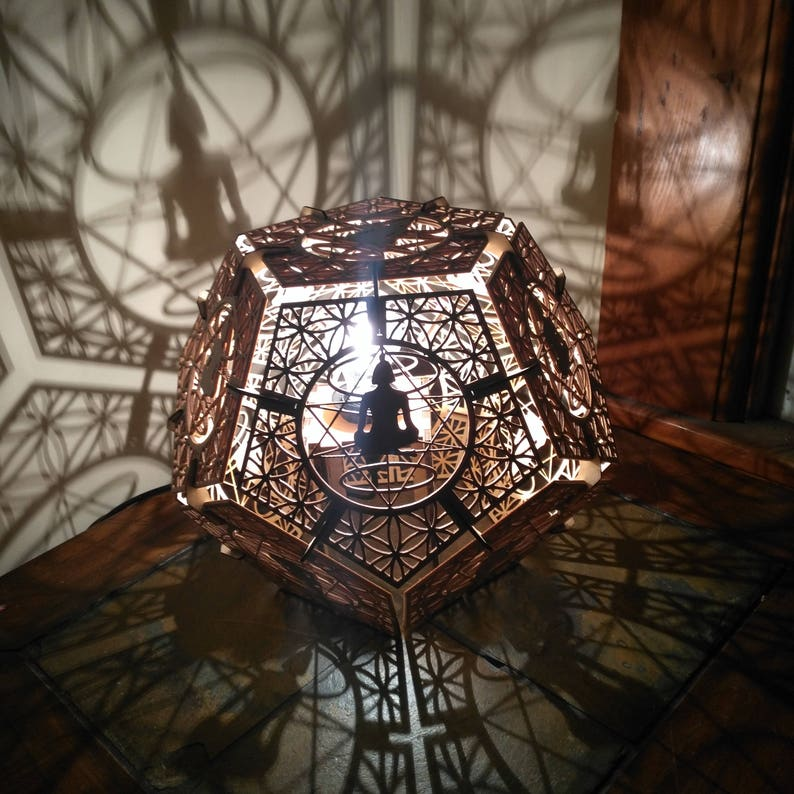 Dodecahedron Meditation Desk Shadow Lamp Geometric Lighting image 0