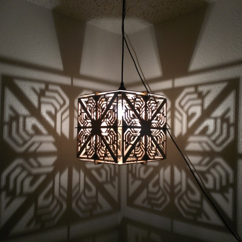 CUBE Lamp  Hanging Ceiling Pendant Shadow Lamp Geometric image 0