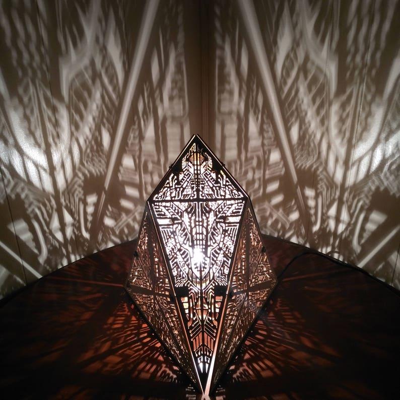 Chestahedron  Shadow Desk Lamp Geometric Lighting Wood Lamp image 0