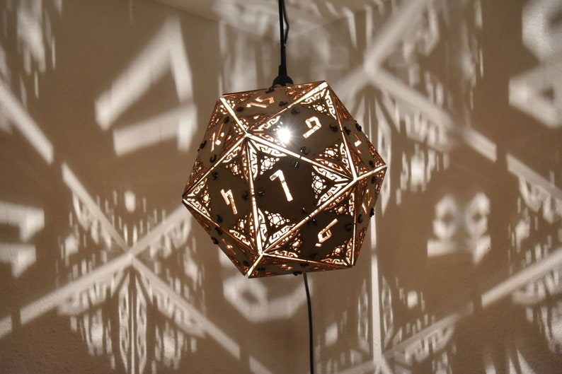 D20 Dungeons and Dragons Dice Lamp  Hanging Pendant image 0