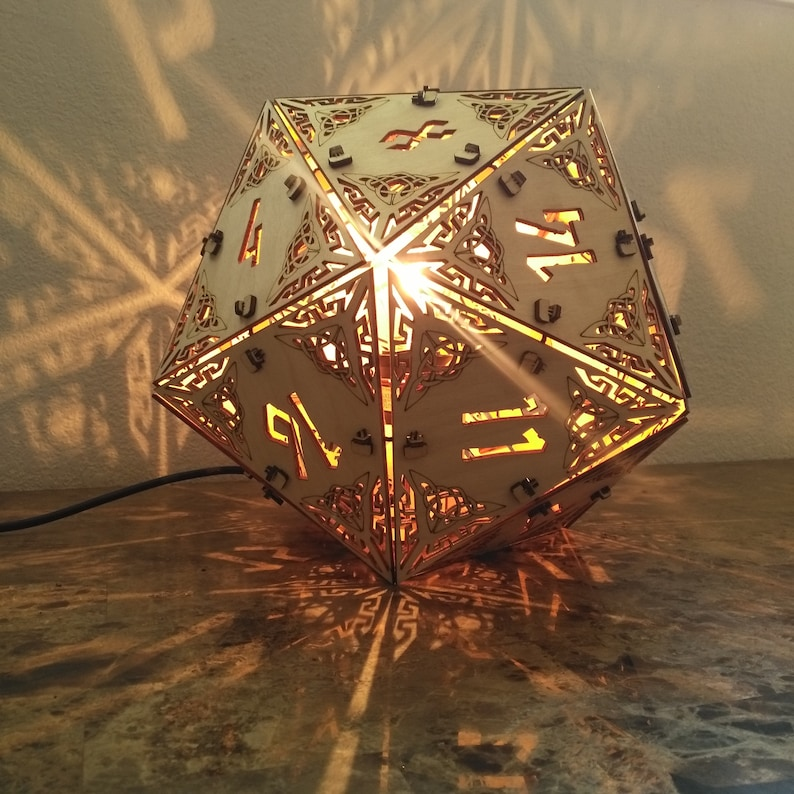 D20 Dungeons and Dragons  Desk Lamp Geometric Lighting Wood image 0
