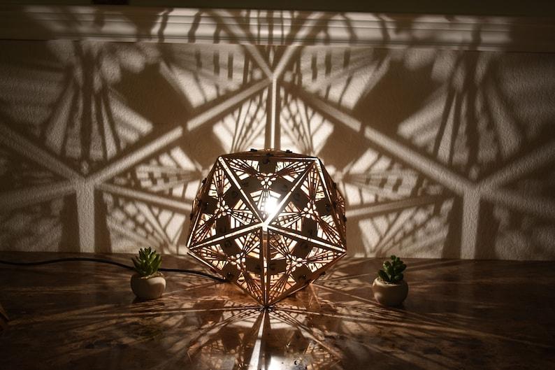 Icosahedron  Shadow Desk Lamp  Geometric Lighting Wood Lamp image 0