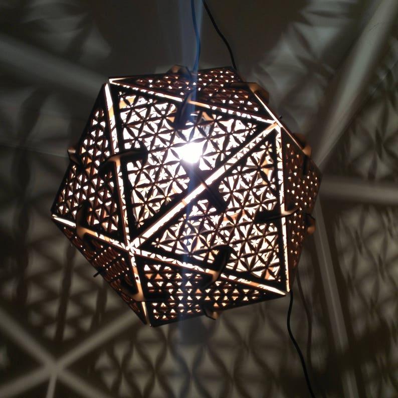 Icosahedron Flower of Life  Hanging Pendant Shadow Lamp image 0