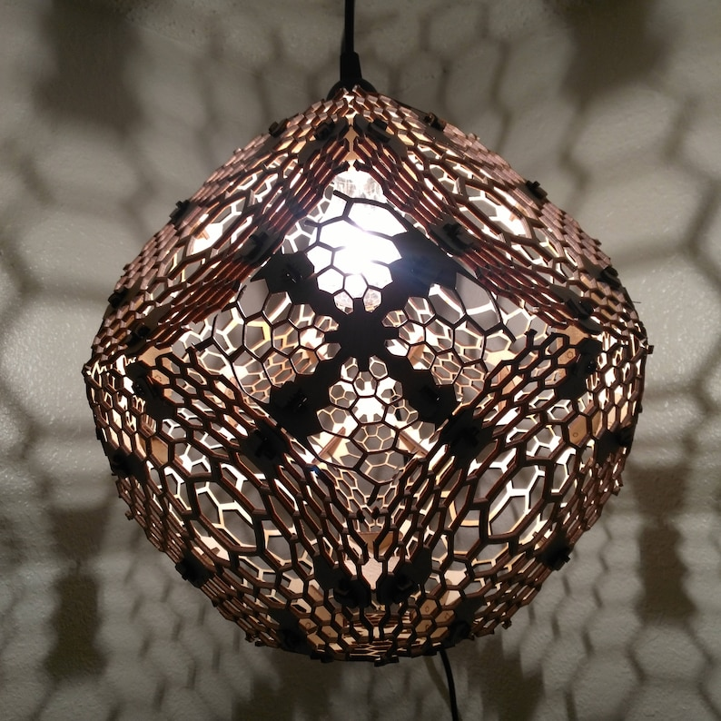 info for 89f7d d8880 Honeycomb Truncated Octahedron - Hanging Shadow Lamp, Geometric Lighting,  Wood Lamp