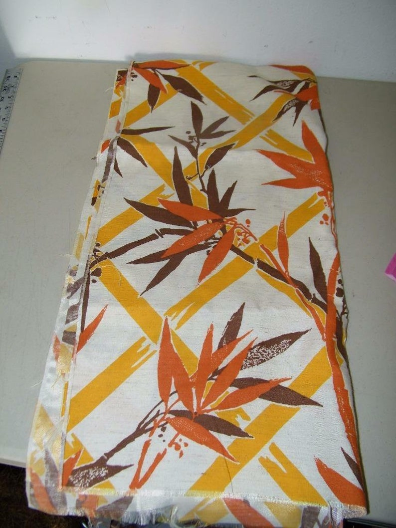Vintage Bamboo Print Home Dec Drapery Fabric Brown Orange Gold 14100