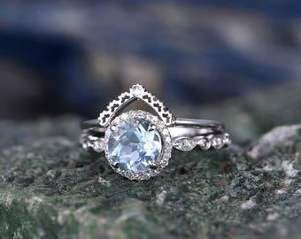 Blue Aquamarine engagement ring set-Solid 14k white gold-handmade Diamond Wedding ring-2PC Stacking ring-7mm Round shape Marth Birthstone