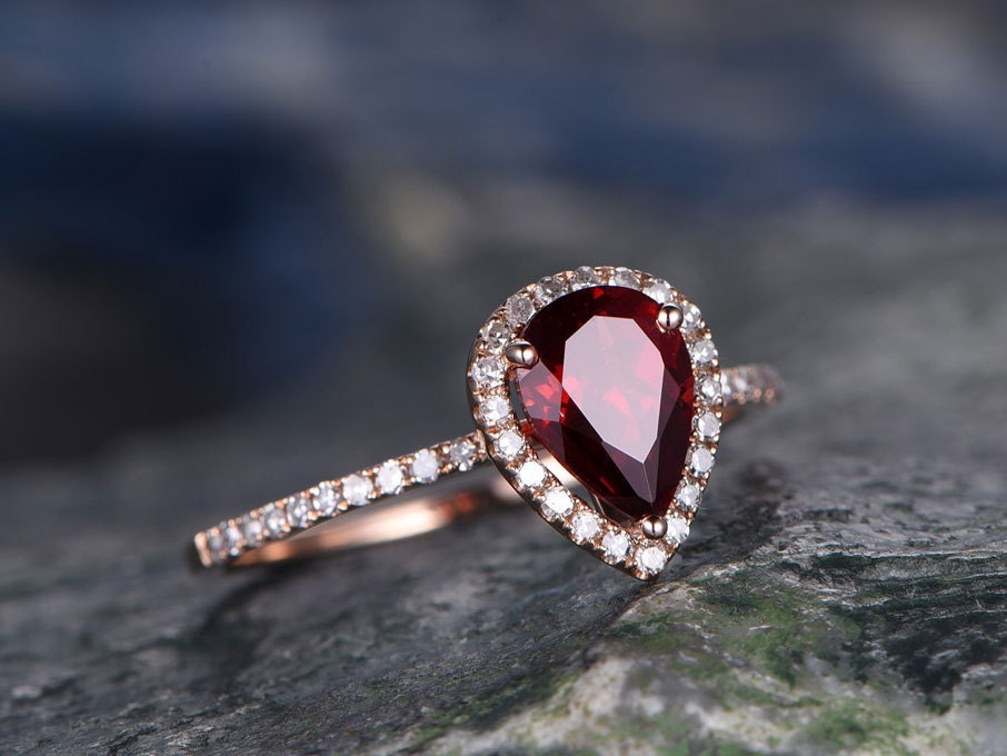 a7272fd27c561 Red Garnet engagement ring-Solid 14k rose gold-handmade Fine Diamond Bridal  ring-Stacking band-6x8mm Pear shaped cut gemstone promise ring