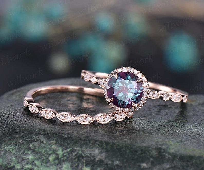 2pcs art deco halo diamond June birthstone ring round image 5