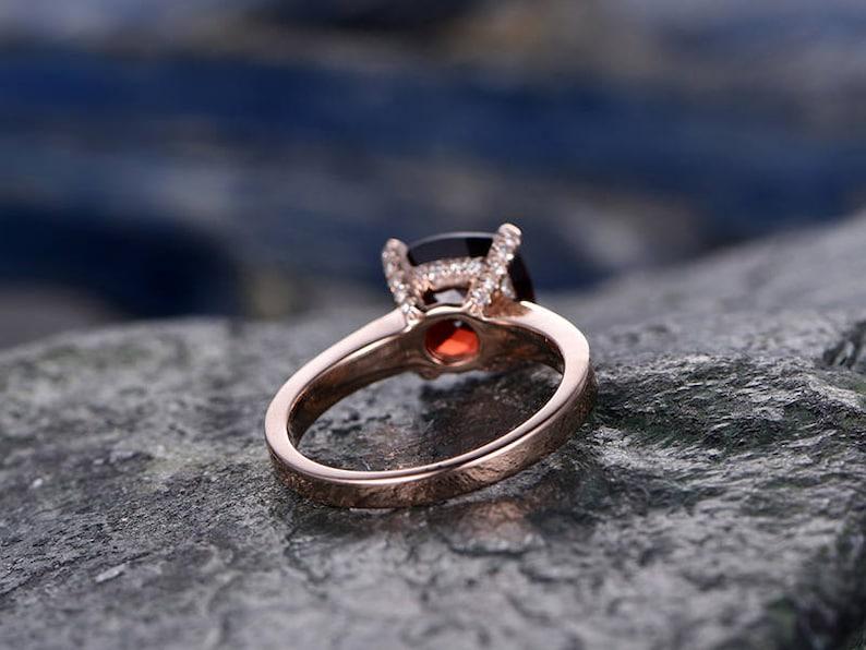 Red Garnet engagement ring-14k Rose gold-handmade diamond bridal ring-Classic Design-8mm Cushion Cut gemstone promise ring-Bezel Gold
