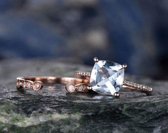 Blue Aquamarine engagement ring set-Solid 14k rose gold-handmade Diamond Wedding ring-2PC Stacking ring-8mm cushion shape gemstone