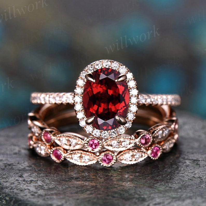 Unique engagement ring set oval garnet engagement ring set image 0