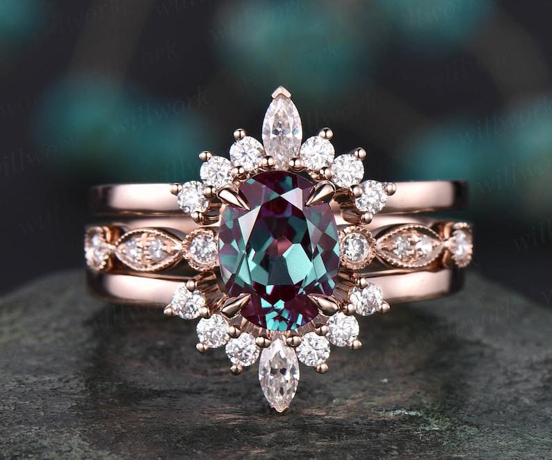 3pcs art deco diamond ring curved crown moissanite wedding image 0