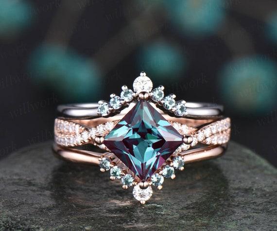 Unique Anniversary ring Art deco Moissanite Ring Antique Princess cut Bridal ring Vintage Alexandrite Engagement Ring Women Rose Gold