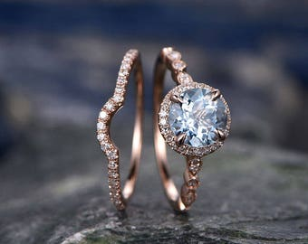 Blue Aquamarine engagement ring set-Solid 14k rose gold-handmade Arched Diamond Wedding ring-2PC Stacking ring-7mm Round March Birthstone