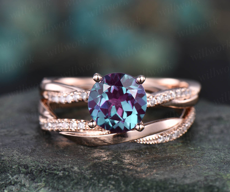 Vintage moissanite ring opal ring gold 2pcs teardrop Alexandrite engagement ring set 14k 18k rose gold birthstone custom unique jewelry gift