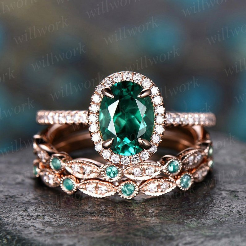 957e58f9aa3f75 Emerald engagement ring set 14k rose gold natural emerald ring | Etsy
