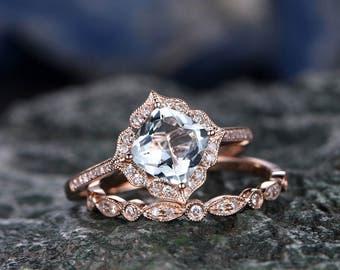 Blue Aquamarine engagement ring set-Solid 14k Rose gold-handmade Diamond Wedding ring-2PC Stacking ring-7mm cushion shape gemstone-Floral