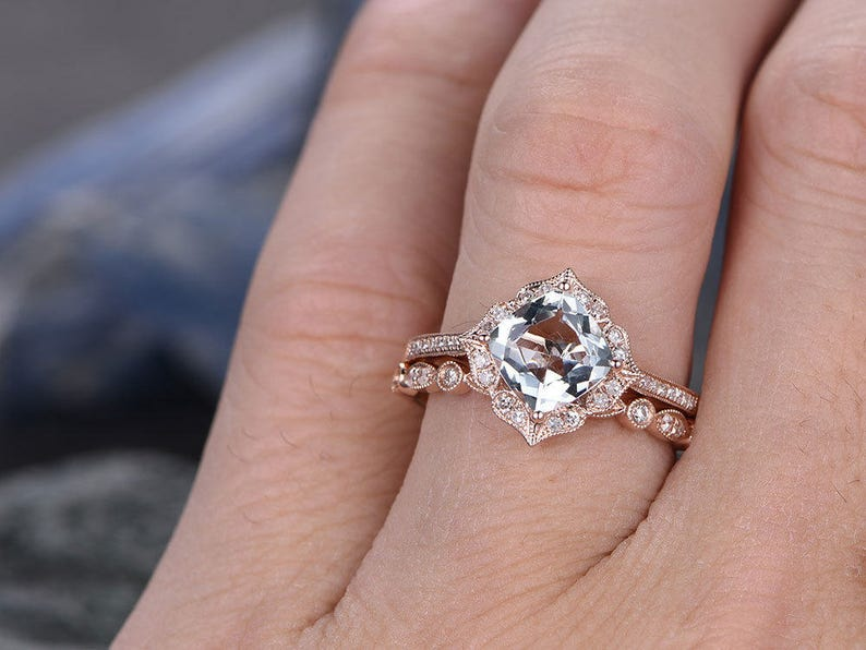 Blue aquamarine engagement ring set solid 14k rose gold diamond halo ring 2pc stacking cushion floral marquise wedding brial promise ring