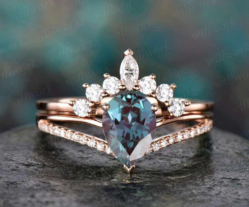 2pcs Alexandrite Ring Set Color Change Alexandrite Engagement image 0
