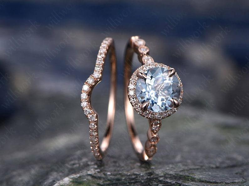 Blue Aquamarine Engagement Ring Set Solid 14k Rose Gold image 0