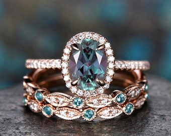 Vintage Unique oval cut Alexandrite engagement ring set rose gold ring set halo diamond ring set art deco bridal wedding ring set for women