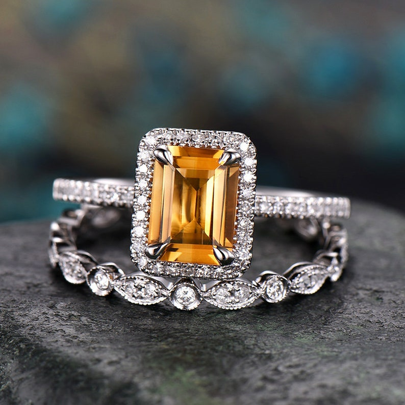 Citrine Round 6.5mm Wedding Engagement Diamond Fine Ring Solid 10k Yellow Gold Jewelry & Watches