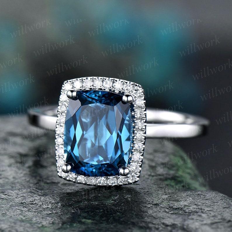 London Blue Topaz Engagement Ring 14k White Gold Diamond Halo Topaz Ring Gold Cushion Unique Antique Bridal Wedding Promise Ring For Her