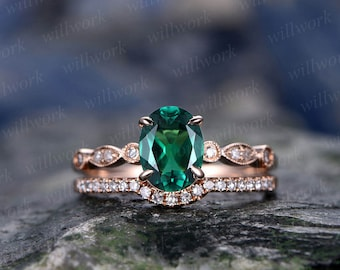 Emerald engagement ring set solid 14k rose gold diamond ring 2pcs oval matching antique marquise wedding bridal promise ring set for her