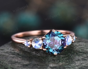Alexandrite ring minimalist vintage round Alexandrite engagement ring five stone moonstone ring rose gold silver for women promise ring gift
