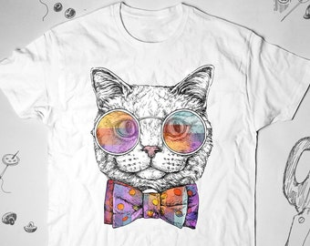 3a04075f4a0a Cat Kitten Cute Pop Art shirt Unisex Men Women Graphic tee tshirt t shirt  Animal Funny Cat Lover Vintage Cat Colorful shirt Gift for Her Him