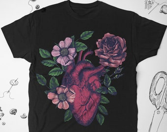 d75580917922f Floral Lungs tee shirt Women Floral shirt Lungs shirt Men Rose | Etsy