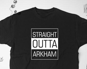 Straight Outta Arkham Shirt for Mens Tshirt Batman Shirt Comics T-shirt Womens Graphic Tee Lovecraft Tshirt Funny Asylum Shir For Men 028