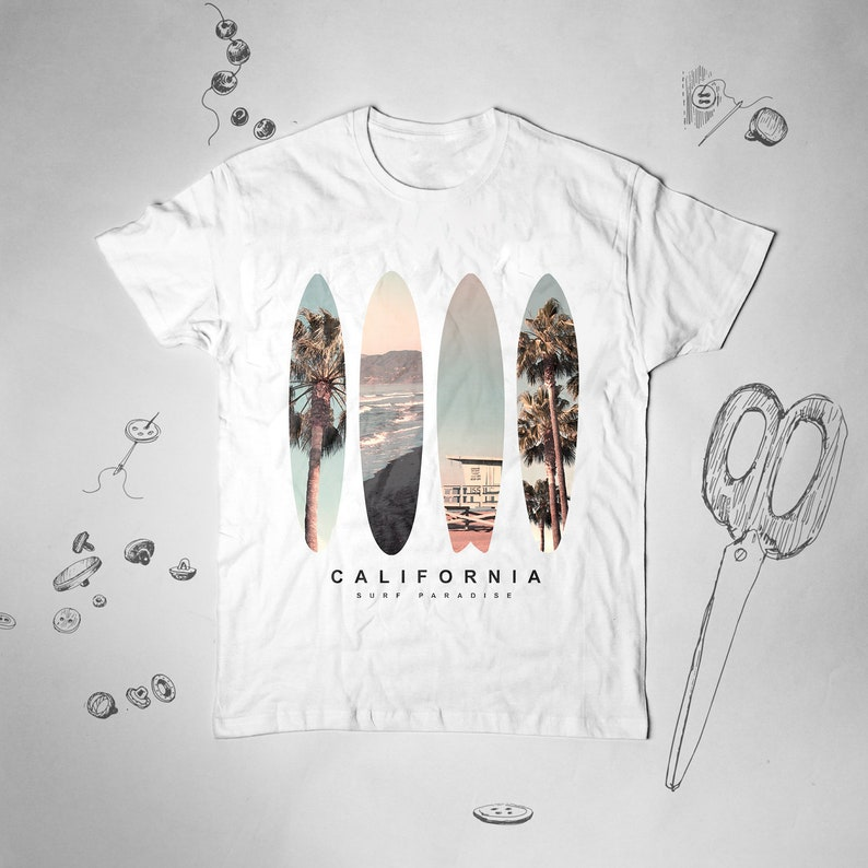 Surf California TshirtEtsy Graphic Camicia dxBWoCre