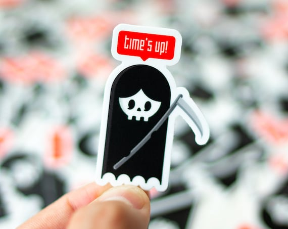 Time's Up Sticker, Reaper Sticker, La Santa Muerte Sticker, Cool decal, Cool Laptop sticker, decal for Macs, Cool Stickers for iPhone, decal