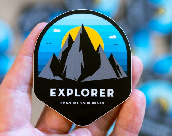 Explorer, Wanderlust Mountain, Vinyl Window Decal, Hiking Bumper Sticker, Perfect Hiker or Outdoor Explorer Gift, Hiking sticker, Hawaii,