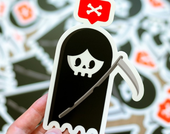 Cute Reaper, Grim Reaper Death, Bumper Sticker, Nostalgia Decals, Sticker for Cars, Trucks, Logo Vinyl Decal, Cocorino Stickers, Stickerbomb