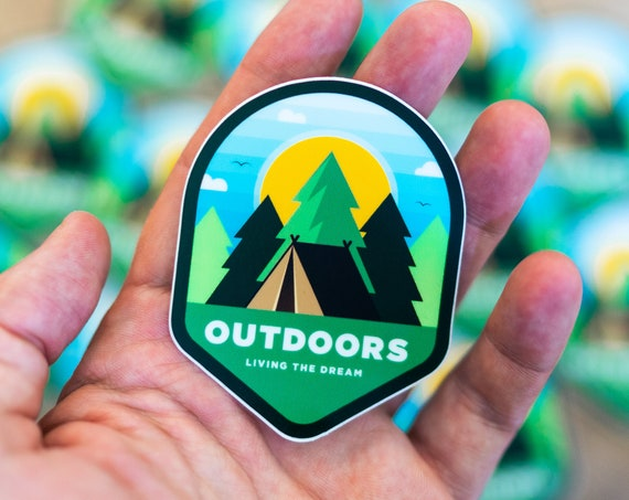 Outdoor Sticker, Travel Decal, Explore Adventure Campfire, Camping Fishing Sticker, Water Bottle Sticker, Wilderness Nature Stickers