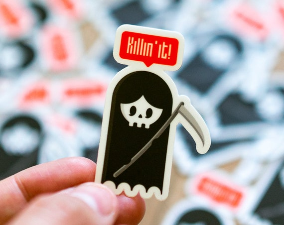 Killin it, Grim Reaper, Vinyl Decal Sticker, Cars Trucks, Vans, Walls, Laptops Cups, Cool Reaper La Santa Muerte Sticker, Cool decal