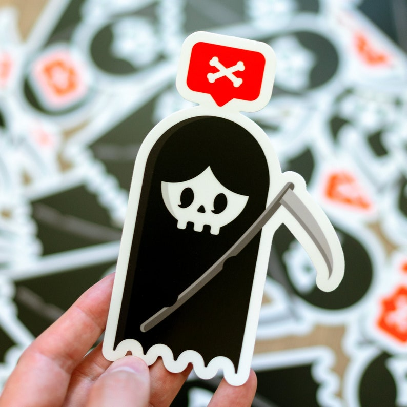 Cute Reaper Grim Reaper Death Bumper Sticker Nostalgia image 0