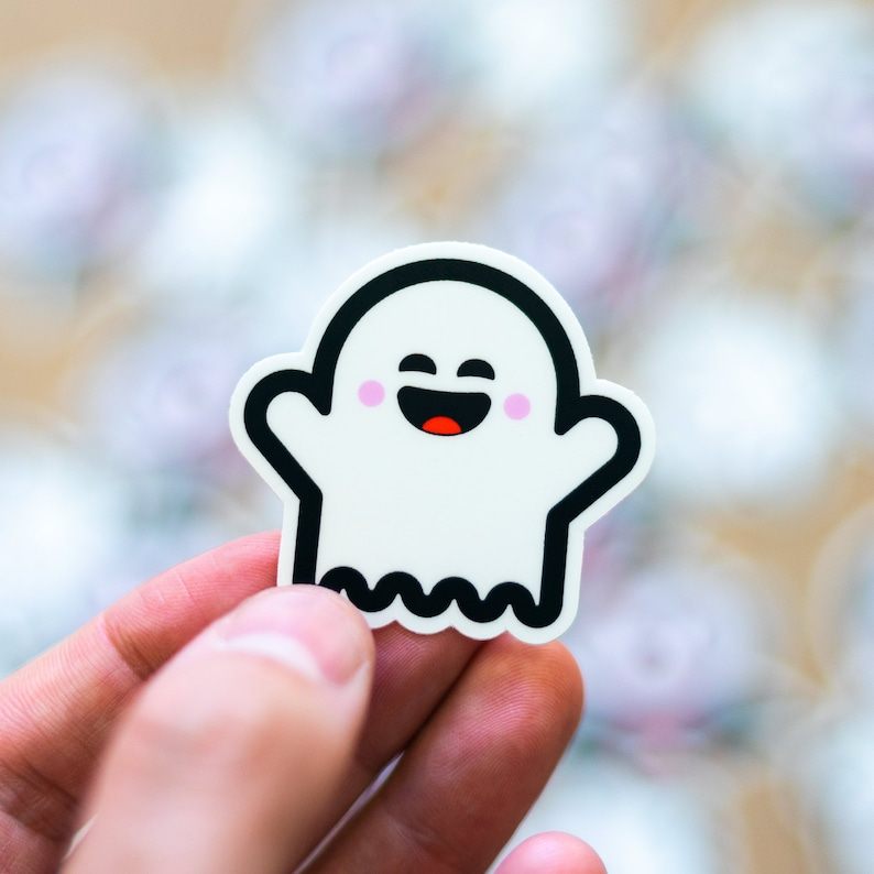 Ghost Sticker Cute Vinyl Ghost Sticker White Spooky Decal image 0