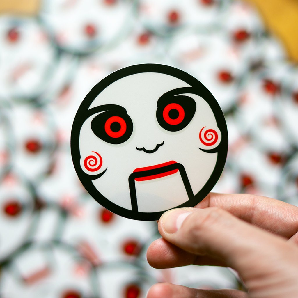Saw inspired sticker jigsaw halloween stickers horror stickers puppet stickpage pretty laptop stickers where to buy cool stickers