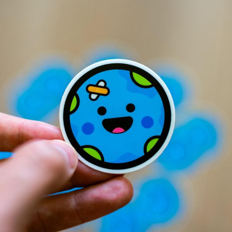 Cute Earth Sticker World Stickers World Laptop Sticker image 0