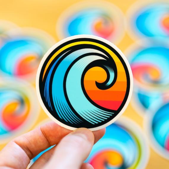 Wave Sticker, Ocean Wave Sticker, Wave Art Sticker, Sun Sticker, California Dream, California Decal, Cocorino Stickers