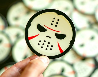 Jason-inspired sticker, Friday The 13th, Jason Voorhees, Scary Stickers, Halloween Stickers, Horror Stickers, Buy Spooky Stickers, scary