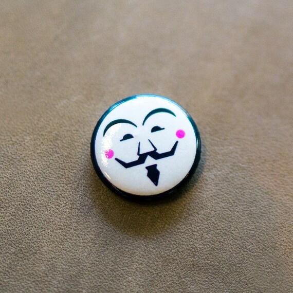Vendetta-inspired Pin, Vendetta enamel pin, Guy Fawkes button badge, V For Vendetta badge, Anonymous enamel pin, cool button badge, Cocorino