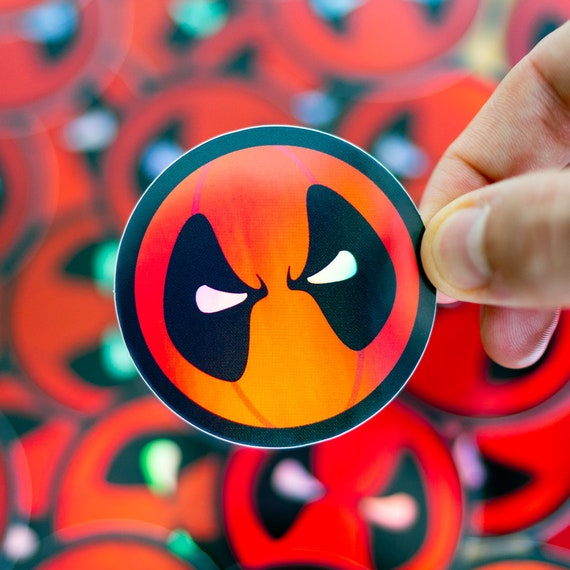 Deadpool inspired Holographic Sticker, Deadpool Holographic sticker, stickers for Halloween, macbook Pro decals, custom stickers, Holo Decal