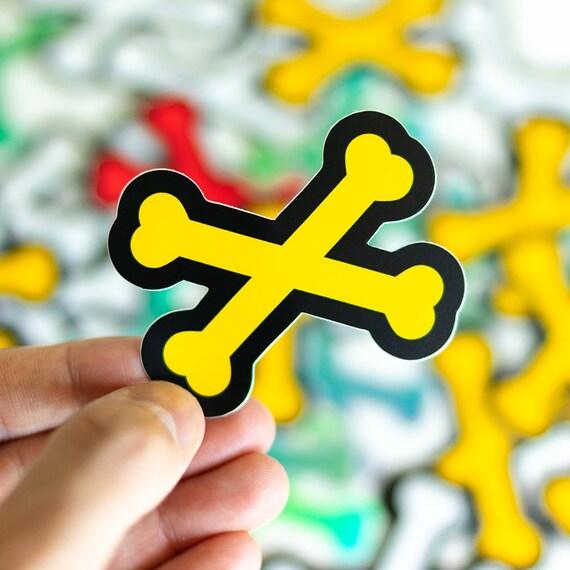 Cross-bones Sticker, Vinyl Sticker, Beautiful Laptop Decals, iPhone stickers, linocut, lino print, stickers, Macbook Stickers, Cocorino
