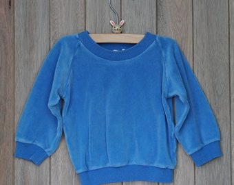 1980s Saks 5th Ave Blue Velour Pullover
